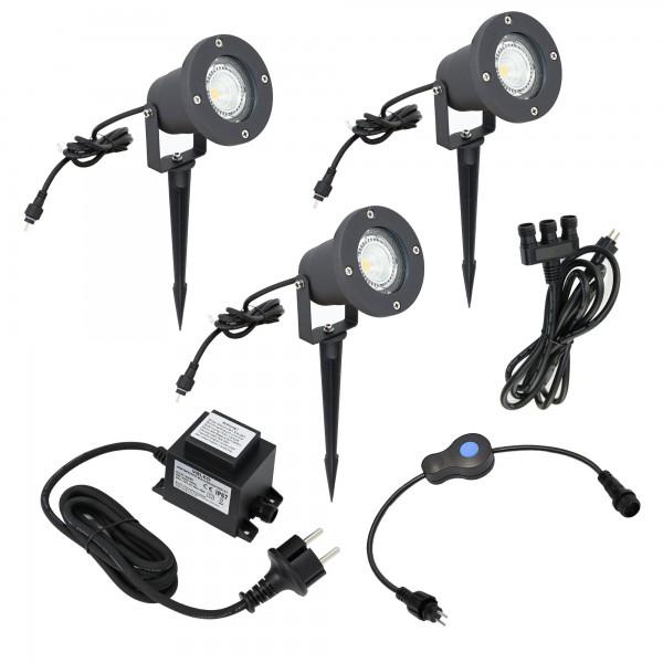 3er KIT 5W LED Garten Strahler IP65 12VAC EZDIM 3-Stufendimmer 400Lumen 3000K