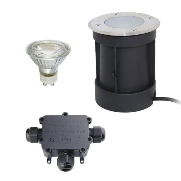 LED Bodeneinbaustrahler mit schwenkbarer Fassung mit 5.5W Leuchtmittel und 3-fach Kabel- Verb