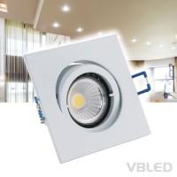 Einbaustrahler Aluminium Weiß schwenkbar lackiert eckig Set mit 3,5W COB LED Leuchtmittel 230V WW