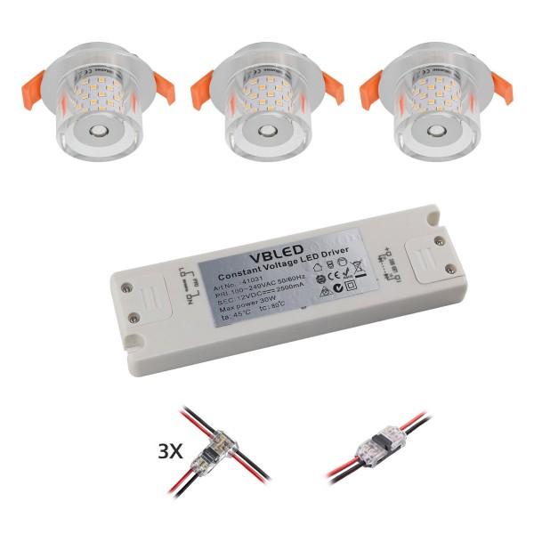 3er KIT LED Einbauleuchte mit G4 Leuchtmittel 12V 4W 3000K 300Lumen