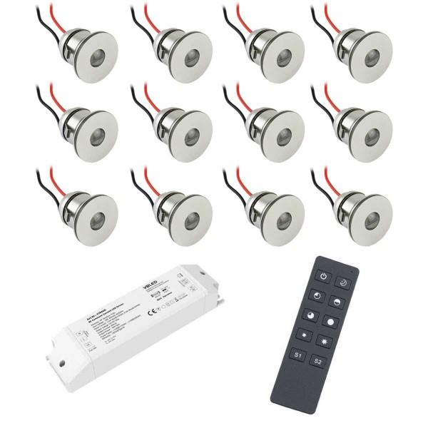 12er-Funk SET -Alu LED Mini Einbaustrahler / IP44 1W / 350mA / 80lm / warmweiß…