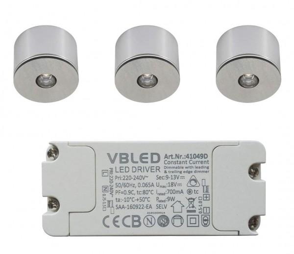 3er Set 3W LED Mini Spot/Decken-Aufbau-Spot / IP65 / WW / inkl.Trafo