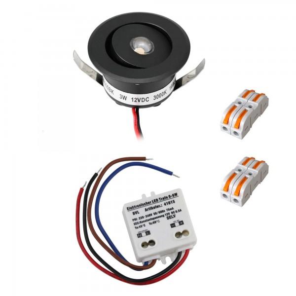"""1er-Set 3W LED Mini Einbauspot - """"OCULOS"""" Minispot 3000K mit Netzteil Schwarz"""