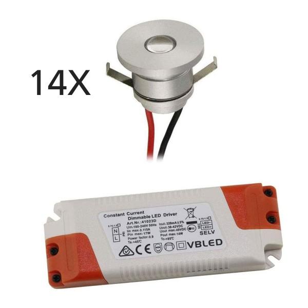 14er-Set 1W LED Aluminium Mini Einbaustrahler warmweiß mit dimmbaren Netzteil
