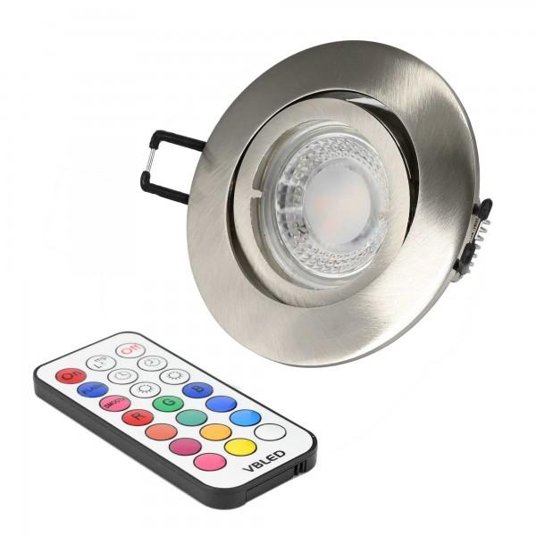 Einbaustrahler Set mit 7W RGB+W Spot Leuchtmittel 12V mit Fernbedienung