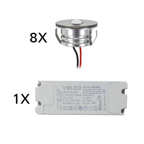 8er Set 3W LED Aluminium Mini Einbaustrahler Spot warmweiß mit dimmbarem Netzteil