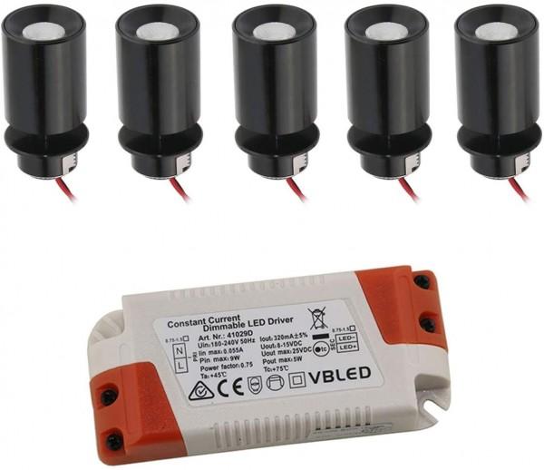 """5er KIT - LED Mini Einbaustrahler """"TINI"""" 1W Rotier- & Schwenkbar"""