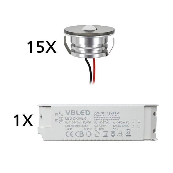 "15er Set 3W LED Aluminium Mini Einbaustrahler Spot ""Luxonix"" warmweiß mit dimmbarem Netzteil"