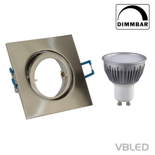 Decken-Einbaustrahler inkl. 5W LED (Dimmbar) GU10 Schwenkbar (Eckig - Eisen)