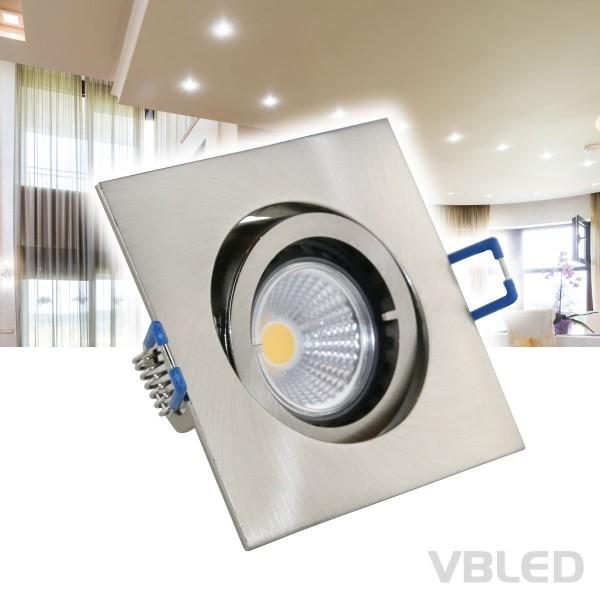 LED Einbaustrahler / Aluminium / silber Optik / eckig / inkl. 3.5W LED