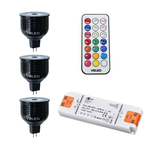 3er SET - 7W RGB+W LED Birnen / 12V AC/DC / MR16/GU5.3 / Dimmbar (4 Stufen) inkl. Fernbedienung