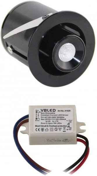 "1er KIT - 1W Mini LED Einbaustrahler "" TINI"" Schwenk- und Höhenverstellbar"