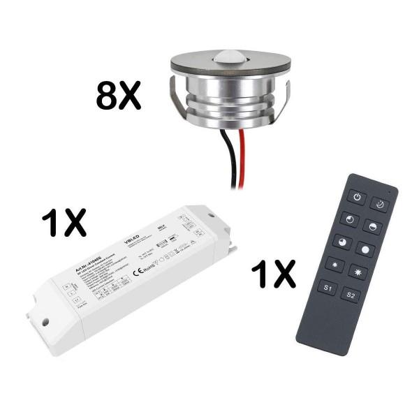 8er Set 3W LED Mini Spot Einbaustrahler warmweiß dimmbar mit Funk Netzteil und Fernbedienung