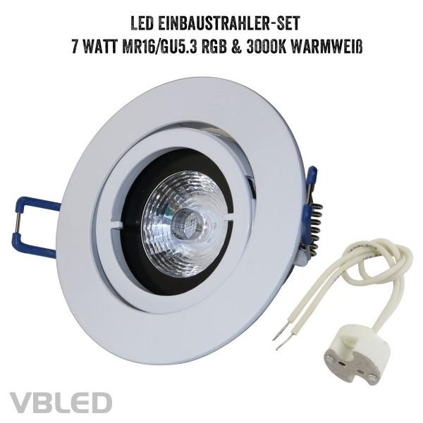 VBLED LED Einbaustrahler Set mit 7W RGB+W Leuchtmittel