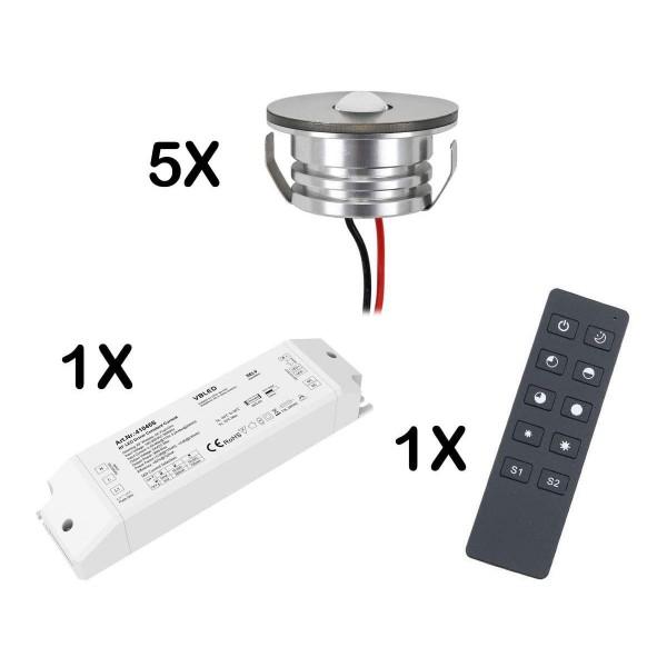 5er Set 3W LED Mini Spot Einbaustrahler warmweiß dimmbar mit Funk Netzteil und Fernbedienung