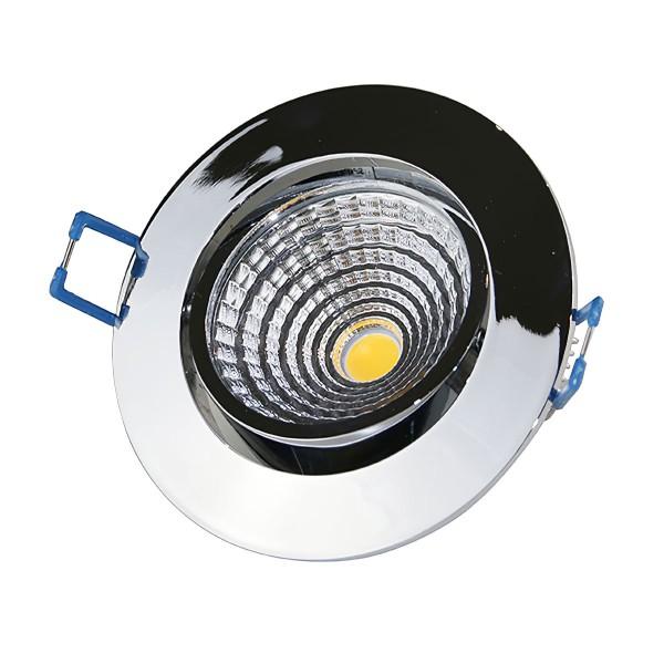 7W LED COB Einbaustrahler 3000K dimmbar - rund- chrom - glänzend