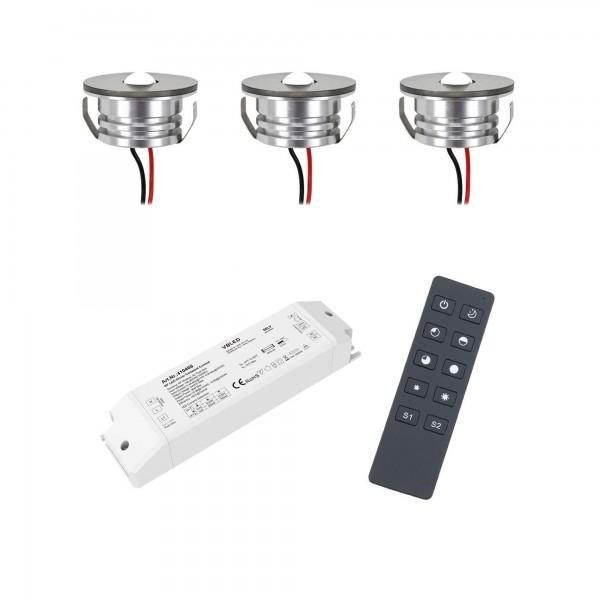 3er Set 3W LED Mini Spot Einbaustrahler warmweiß mit Funk Netzteil und Fernbedienung