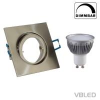 Decken-Einbaustrahler inkl. 5W LED (Dimmbar), GU10 Fassung Schwenkbar (Eckig - Eisen gebürstet)