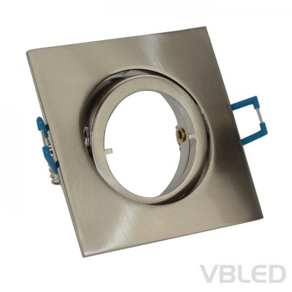 LED Einbaurahmen aus Aluminium - silber - eckig - gebürstet - schwenkbar
