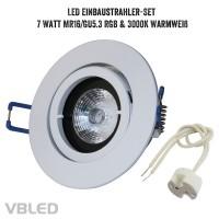 Einbaustrahler Set mit 7W RGB+W Leuchtmittel und Einbaurahmen in weißer Optik glänzend rund