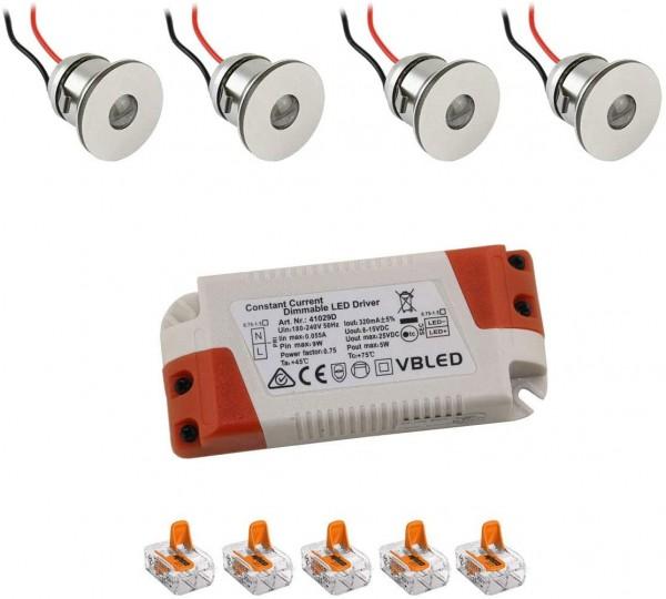 4er-Set 1W Mini LED Einbauspot Einbaustrahler warmweiß mit Netzteil