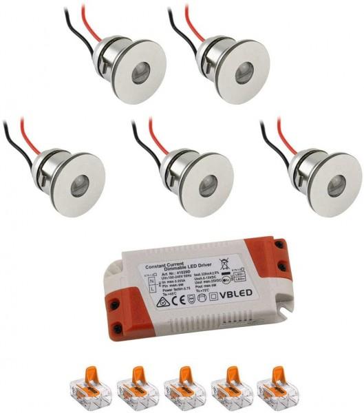 5er-Set 1W Mini LED Einbauspot Einbaustrahler warmweiß mit Netzteil