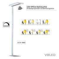 Funktionale LED Büro Stehlampe 60W mit Drehdimmer, Bewegungssenor und Tageslichtsensor