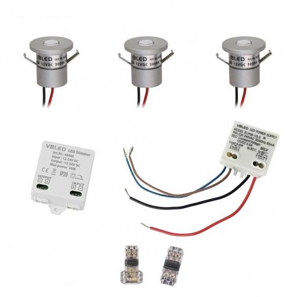 3er EZDIM Set 1W Mini-Einbauspot IP65 Warmweiss Inkl.12W LED Trafo