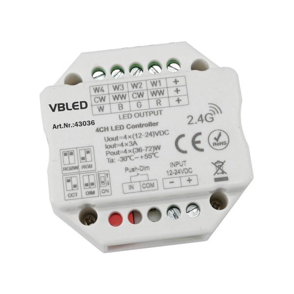 iNatus RF LED Controller für Einzelfarbe, Dualfarbe, RGB, oder RGB+W LED Streifen