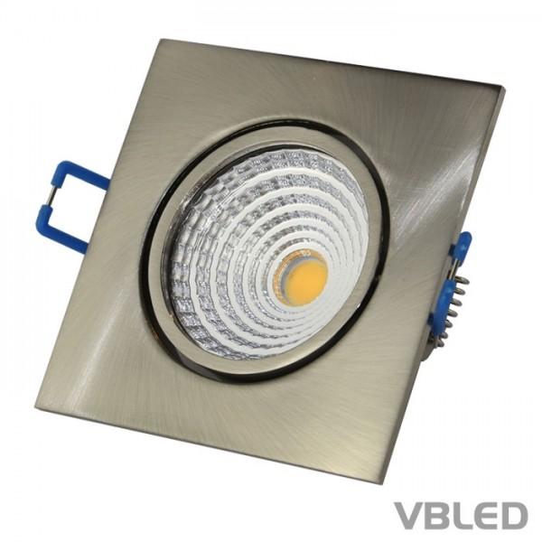 LED COB Einbaustrahler - eckig - alu - gebürstet - 7W