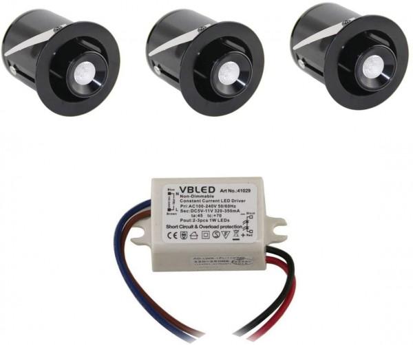"3er KIT - 1W Mini LED Einbaustrahler "" TINI"" Schwenk- und Höhenverstellbar"