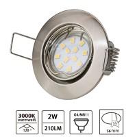 Einbaustrahler- eisen rund gebürstet - schwenkbar mit 2W MR11 GU4 LED Leuchtmittel inkl. Fassung