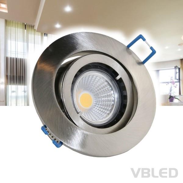 LED Einbaustrahler / Aluminium / silber Optik / rund / inkl. 3,5W LED