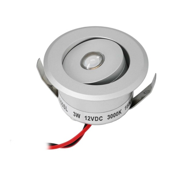 "3W LED Mini Einbauspot - ""OCULOS"" Minispot - 12V DC - IP44 - 3000K - Schwenkbar - Silber"