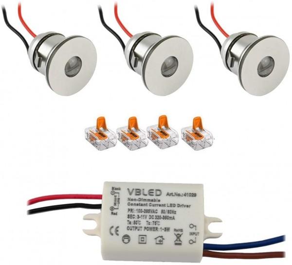 3er-Set 1W Mini LED Einbauspot Einbaustrahler mit Netzteil