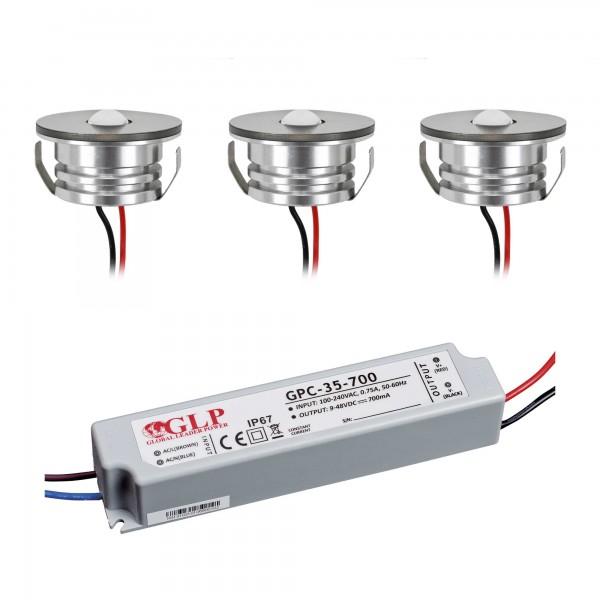 "3er Set 3W LED Aluminium Mini Einbaustrahler Spot ""Luxonix"" warmweiß waterproof"