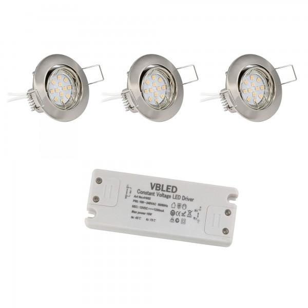 3er LED Einbaustrahler 12V Set inkl. Leuchtmittel 2W und Trafo