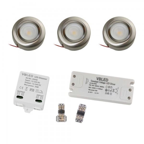 3er EZDIM Set LED-Schrank-Küchen-Unterbau-Leuchte mit Netzteil und EZDIM
