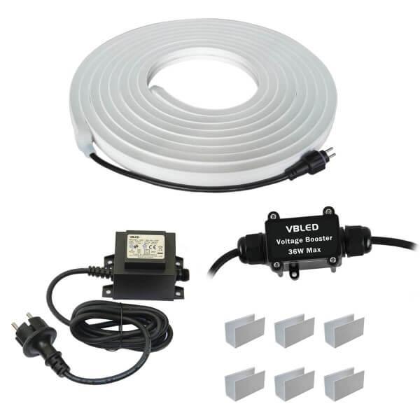 LED Neon Streifen LED-Strip - 500cm - KIT (incl. Trafo, Spannungsumwandler und Montageclips)