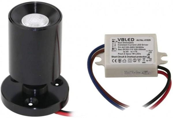 "1er KIT - LED Mini Aufbauspot ""TINI"" 1W Rotier- & Schwenkbar"
