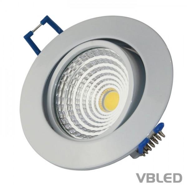 VBLED LED COB Einbaustrahler - rund - weiß glänzend - 7W