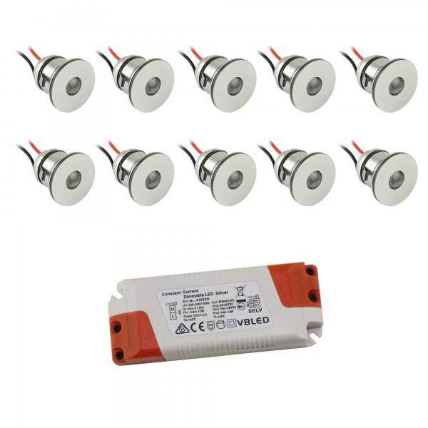 10er-Set 1W Mini LED Einbauspot Einbaustrahler warmweiß mit Netzteil