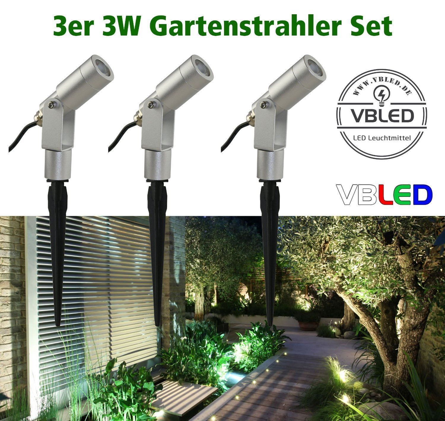 led gartenstrahler 3w set silber 3000k 11101 kit si 3k gartenbeleuchtung vbled. Black Bedroom Furniture Sets. Home Design Ideas