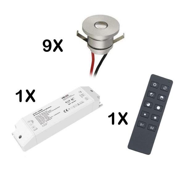 9-er Set 1W LED Aluminium Mini Einbaustrahler warmweiß mit RF Funk Netzteil