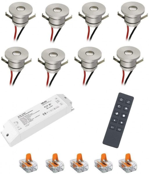 8er Set 1W Aluminium Mini LED Einbaustrahler Spot warmweiß mit RF Funk Netzteil