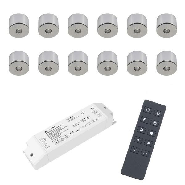 12er Set 3W LED Mini Spot Aufbaustrahler warmweiß dimmbar mit Funk Netzteil und Fernbedienung